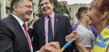 Президент Украины Петр Порошенко и губернатор Одесской области Михаил Саакашвили Фото: ТАСС